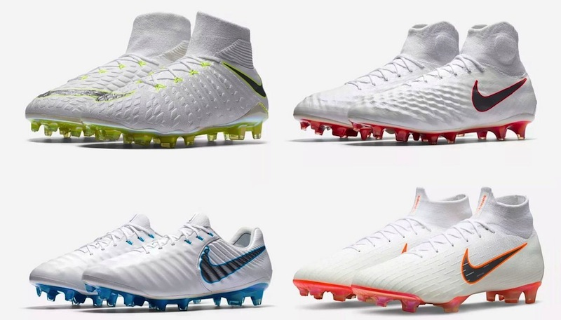 b6af3dee3 Nike's 'Just Do It' pack consists of four all-white boots, with various  stylings on each of their silos on the sole plates and swoosh.
